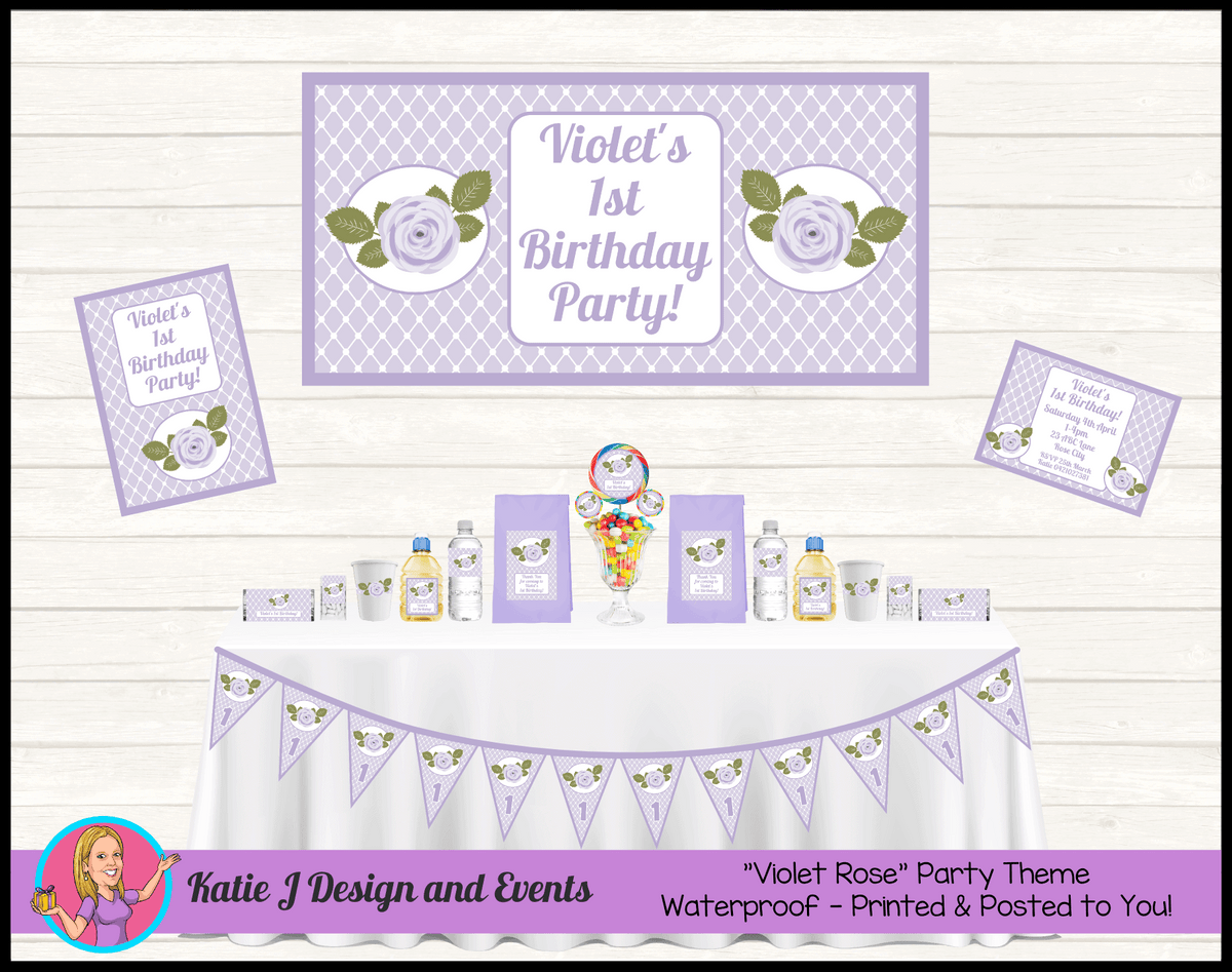 Personalised Purple Floral Party Packs Decorations Supplies