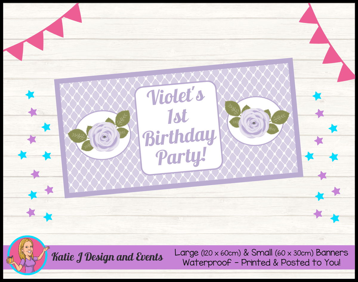 Personalised Purple Floral Birthday Party Banner