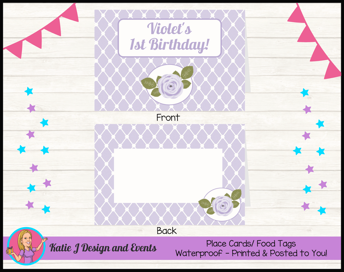 Personalised Purple Floral Party Place Cards