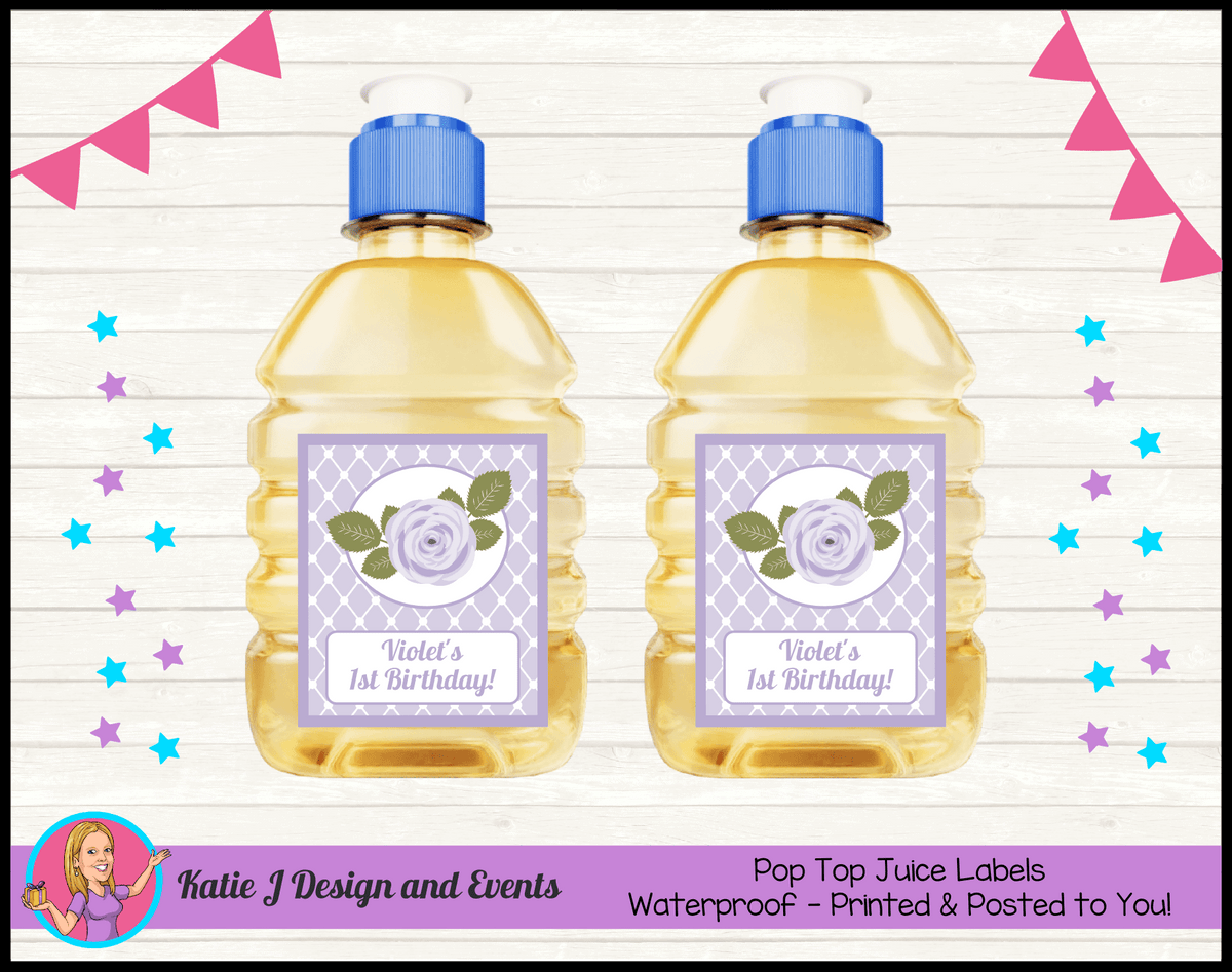 Personalised Purple Floral Pop Top Juice Labels