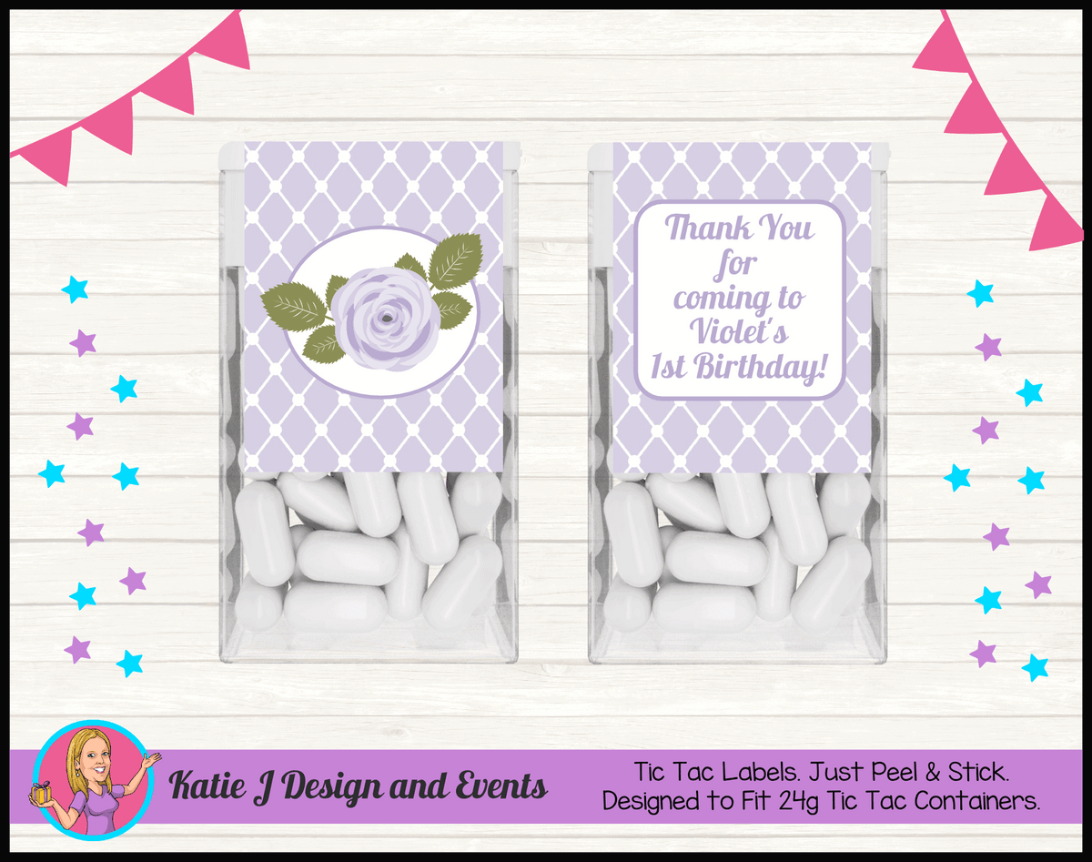Personalised Purple Floral Tic Tac Mint Labels