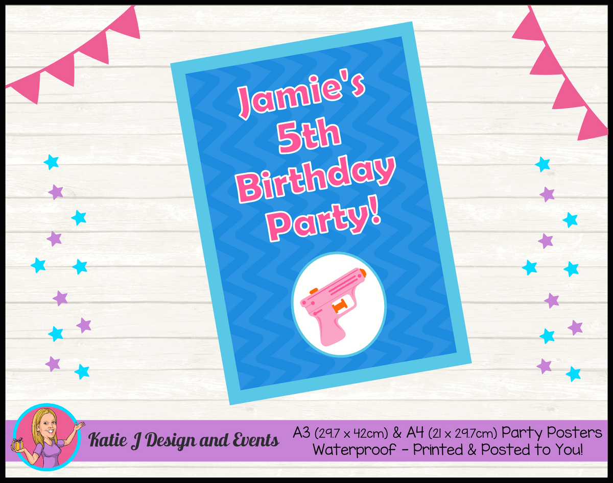 Personalised Girls Water Gun Pool Birthday Party Poster
