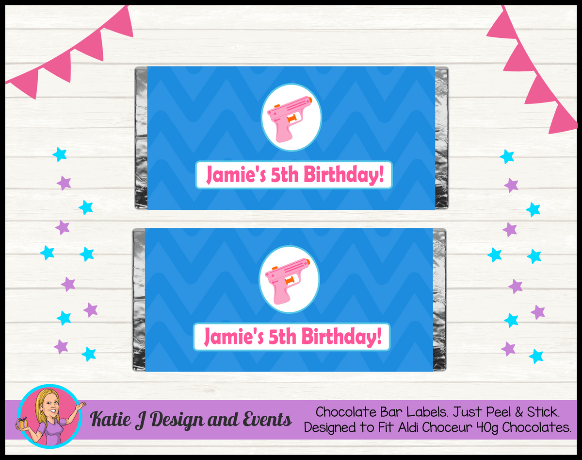 Personalised Girls Water Gun Pool Birthday Party Chocolate Labels Wrappers