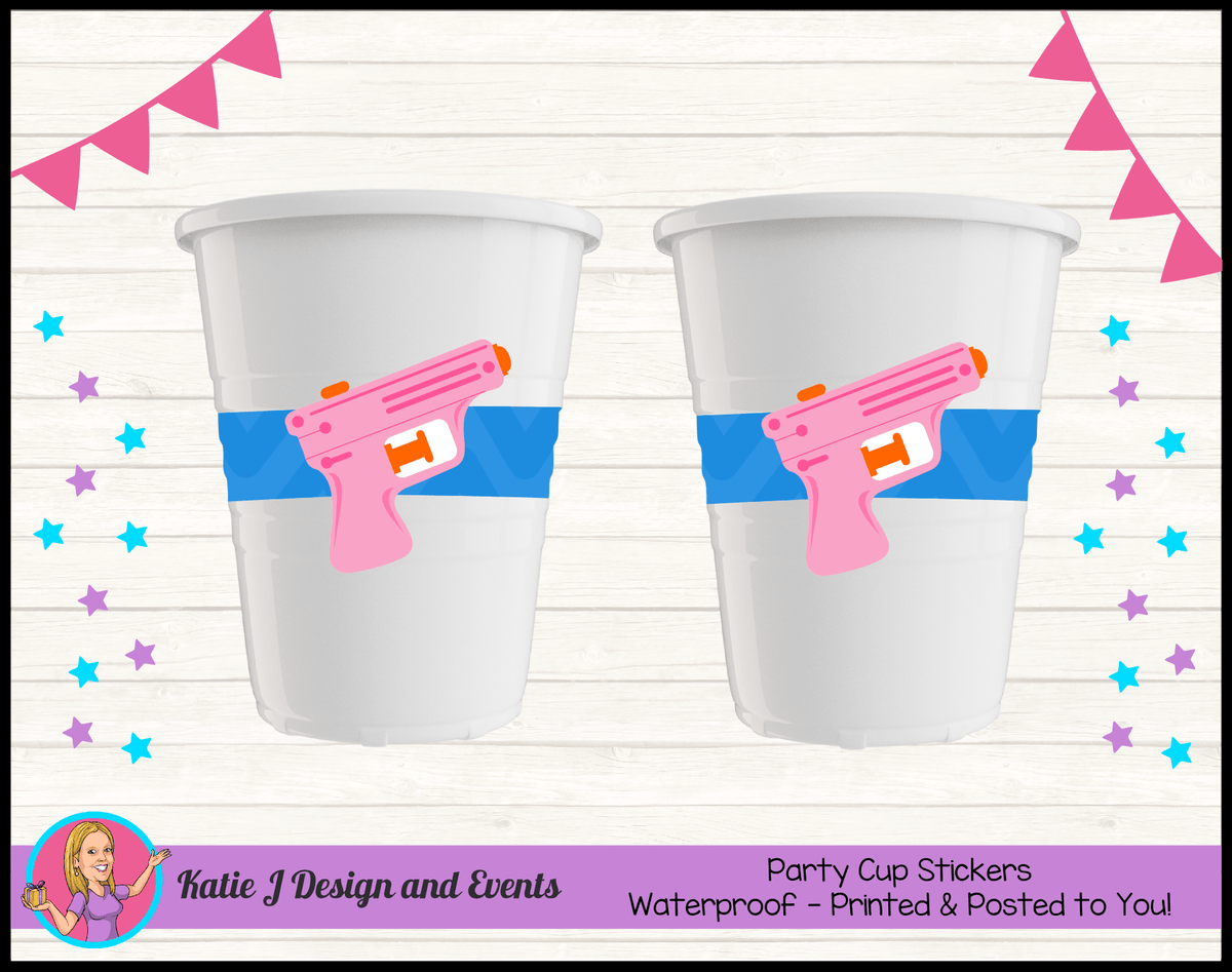 Personalised Girls Water Gun Pool Birthday Party Cups Cup Stickers