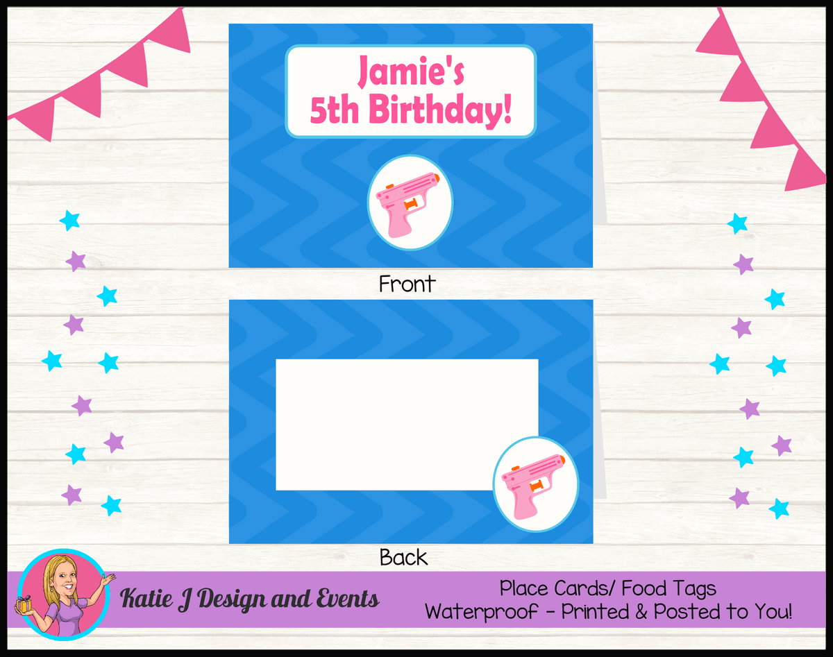 Personalised Girls Water Gun Pool Birthday Party Place Cards