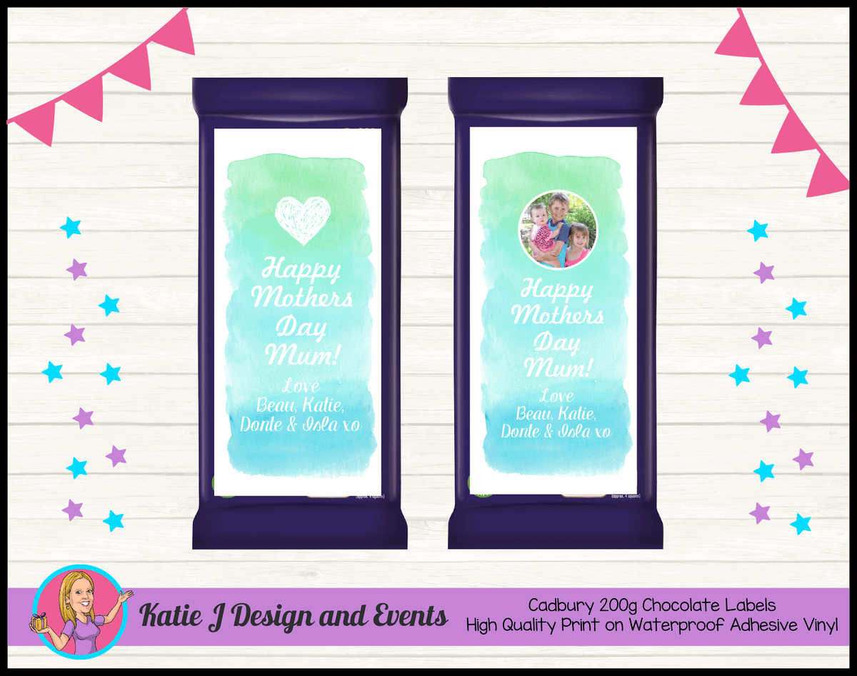 Watercolour Mothers Day Gift Chocolate Labels