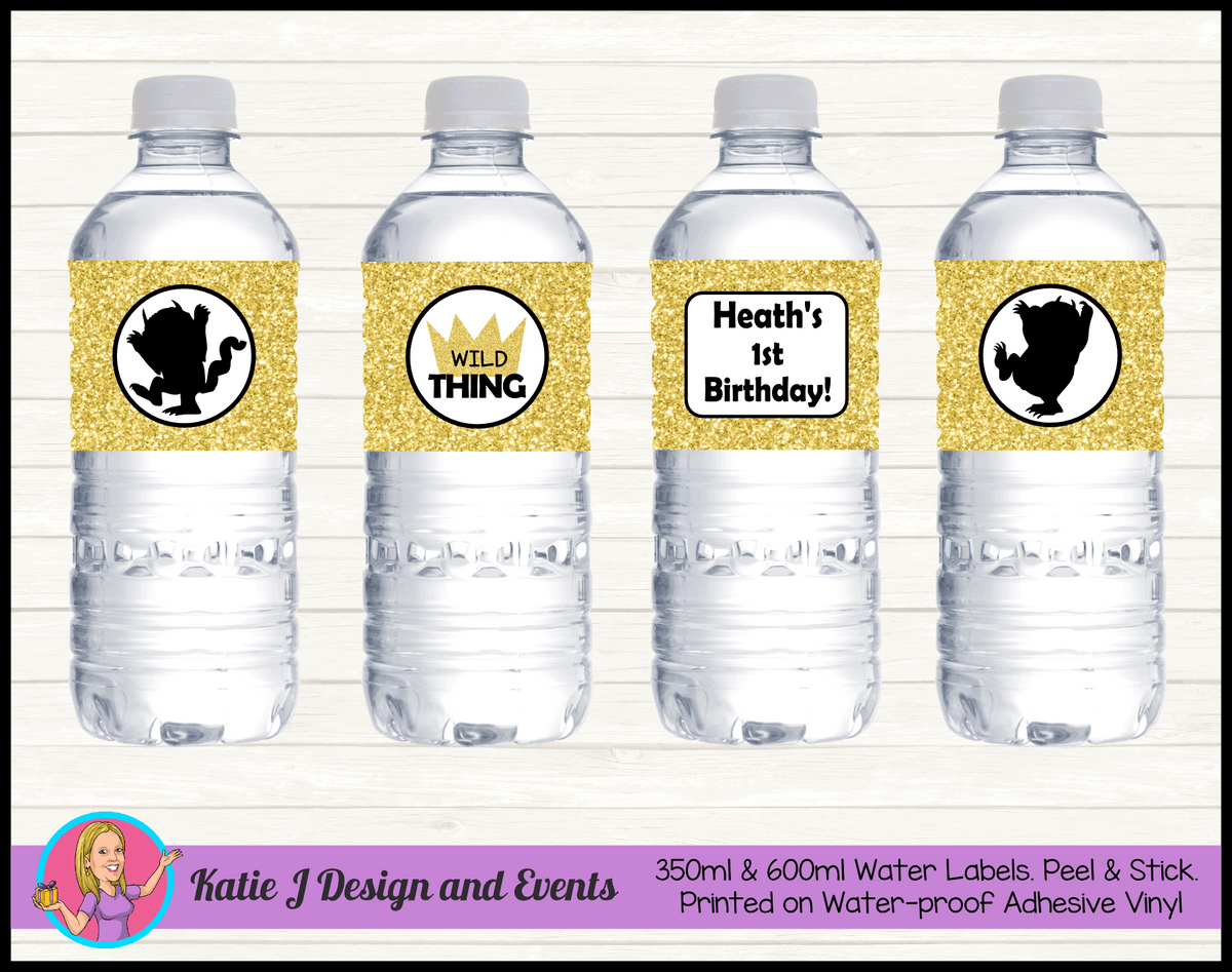Personalised Where the Wild Things Are Birthday Water Labels