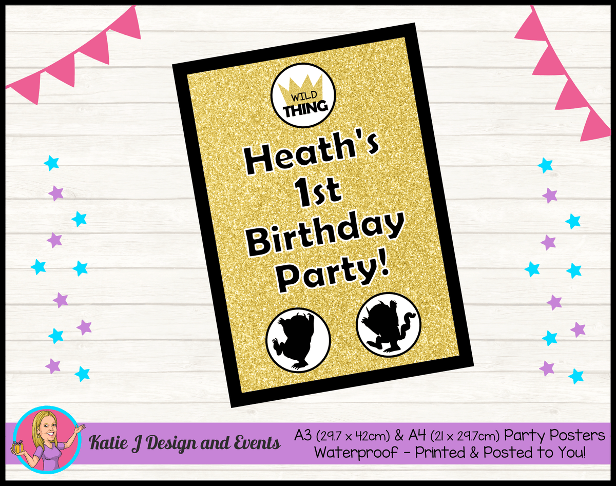Personalised Where the Wild Things Are Birthday Party Poster