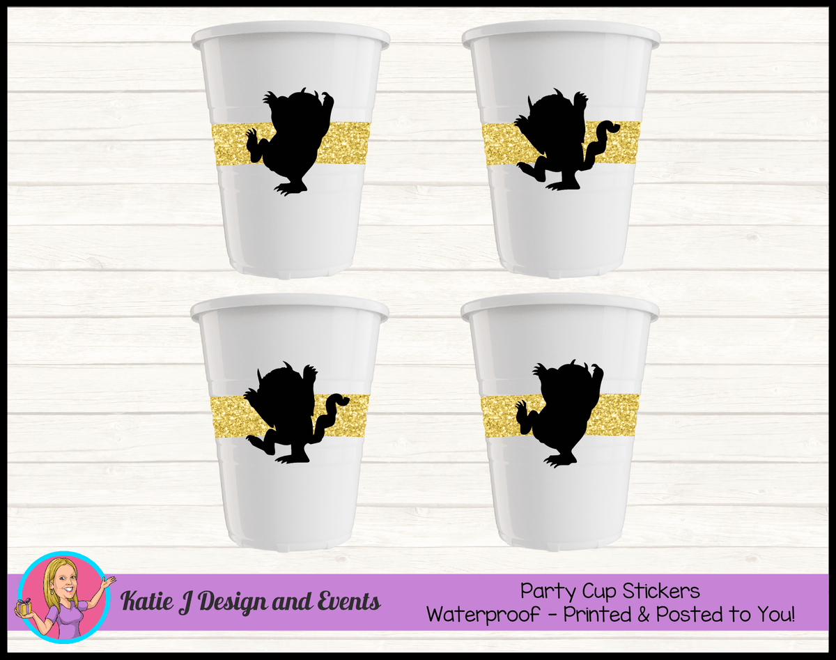 Personalised Where the Wild Things Are Party Cups Cup Stickers
