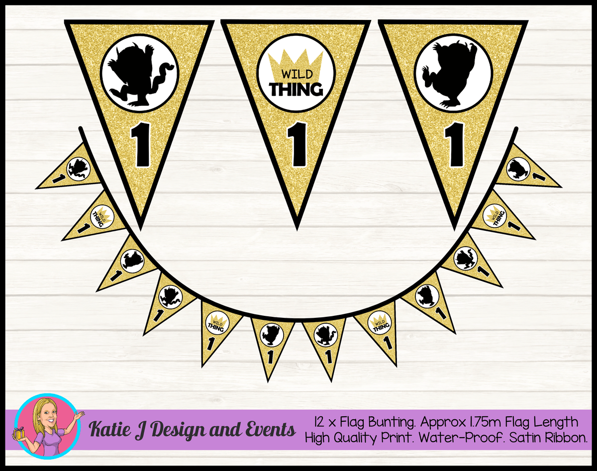 Personalised Where the Wild Things Are Birthday Party Flag Bunting