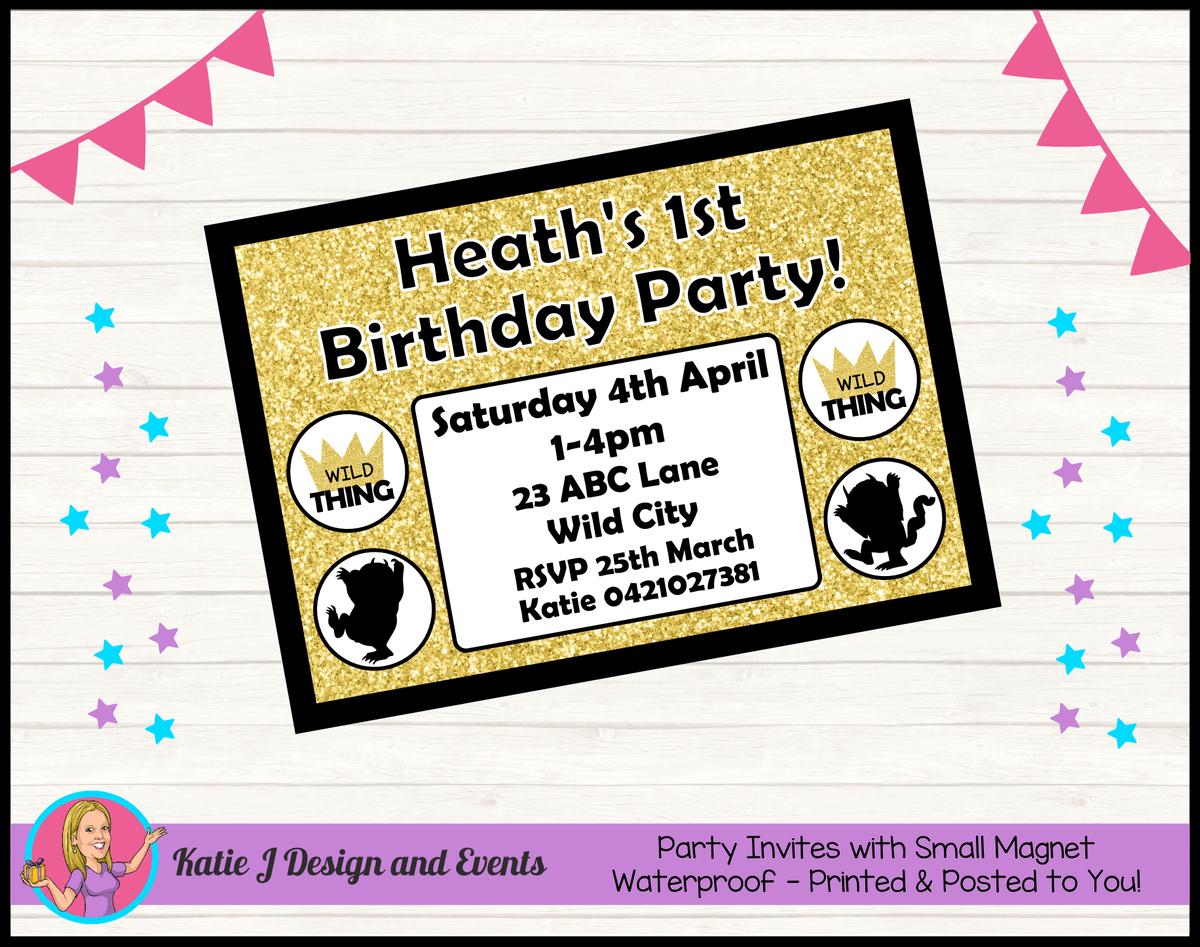 Personalised Where the Wild Things Are Birthday Party Invites