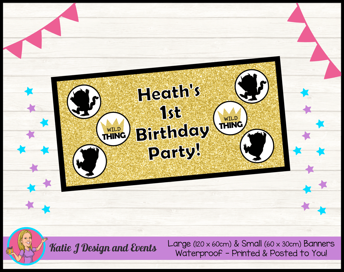 Personalised Where the Wild Things Are Birthday Party Banner