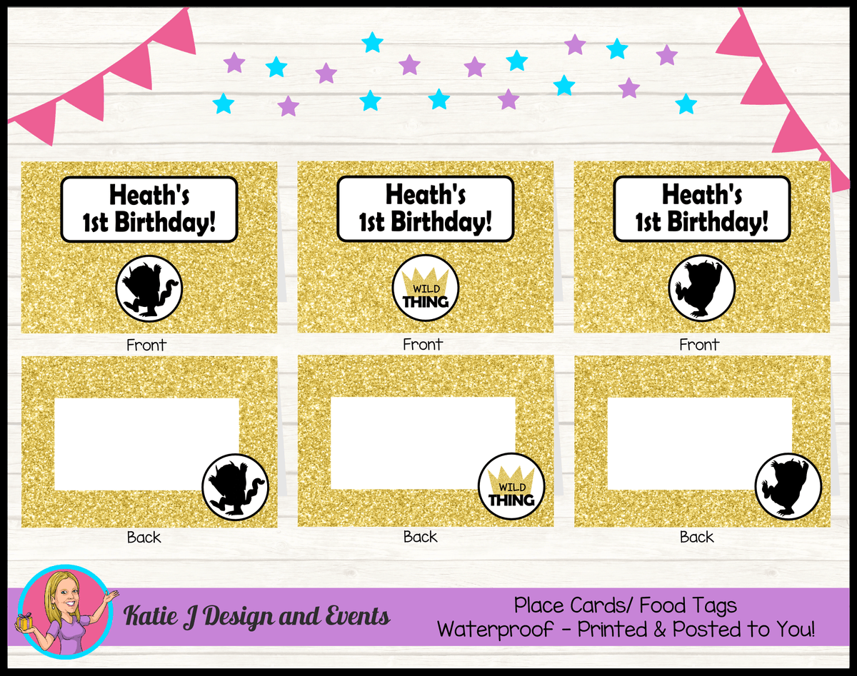 Personalised Where the Wild Things Are Party Place Cards
