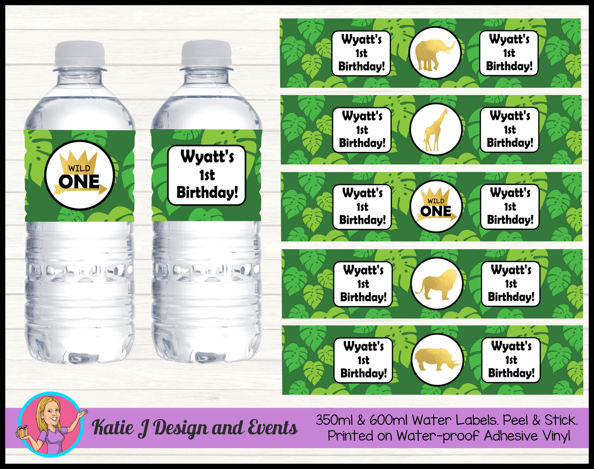 Personalised Jungle Wild One Birthday Water Labels