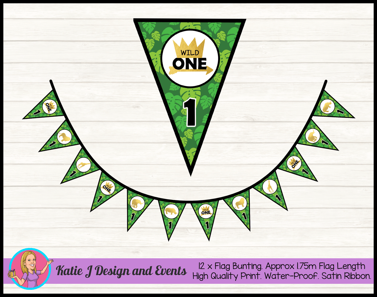 Personalised Jungle Wild One Birthday Party Flag Bunting
