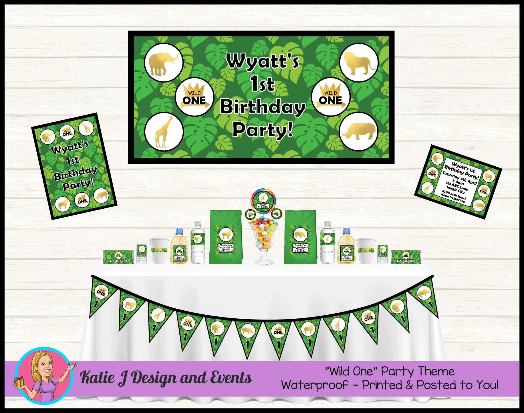 Personalised Jungle Wild One Party Packs Decorations Supplies