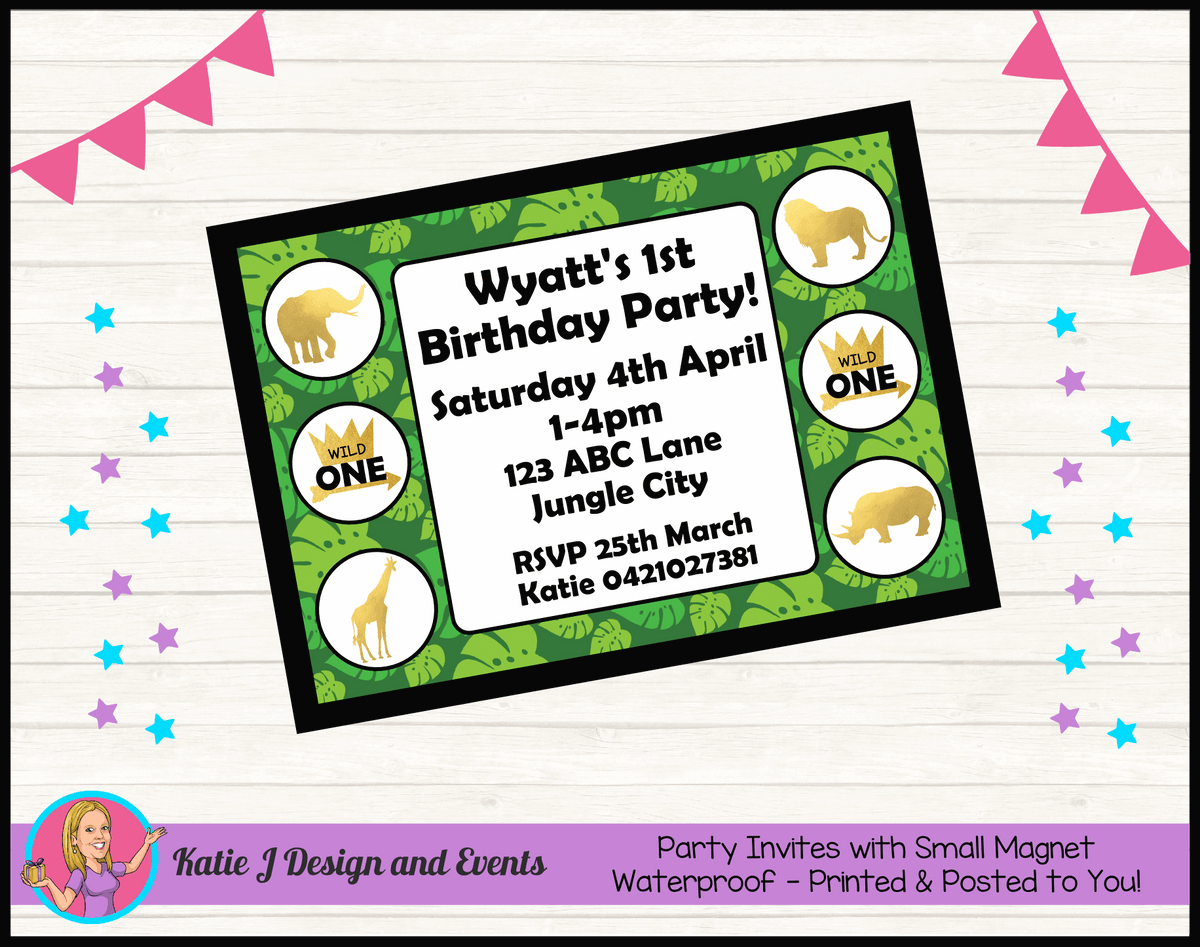 Personalised Jungle Wild One Birthday Party Invites