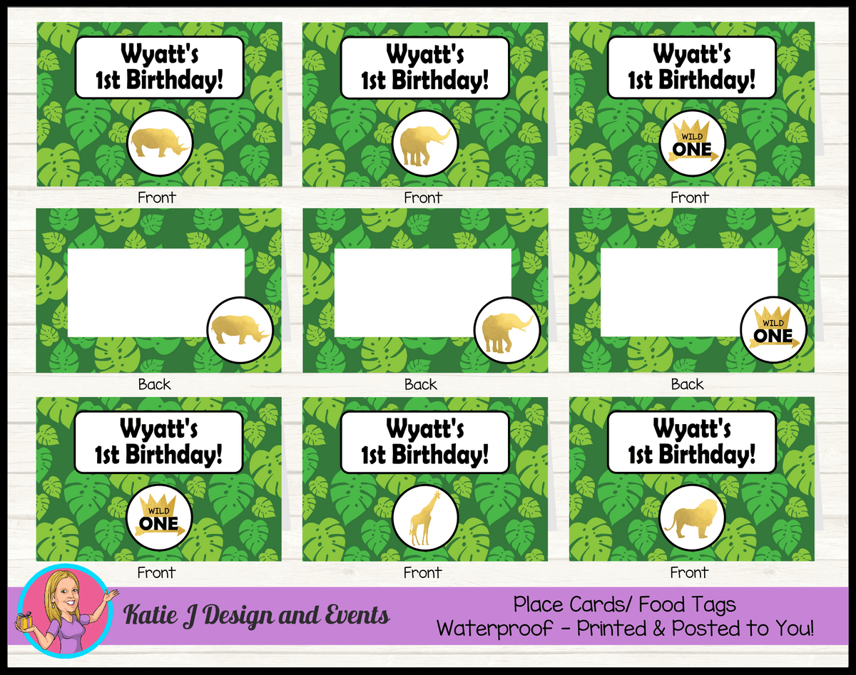 Personalised Jungle Wild One Party Place Cards