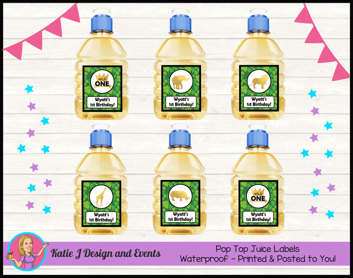 Personalised Jungle Wild One Pop Top Juice Labels