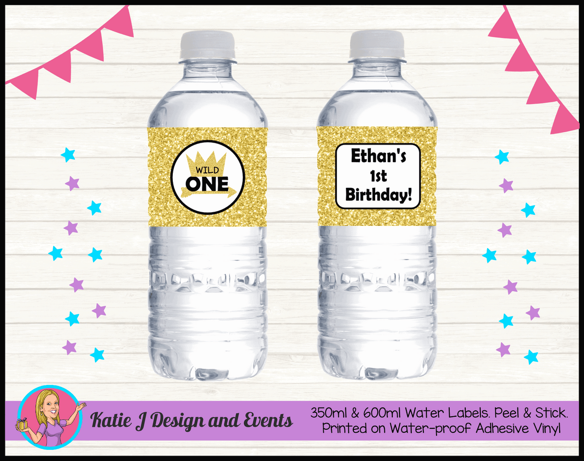 Personalised Gold Wild One Birthday Water Labels