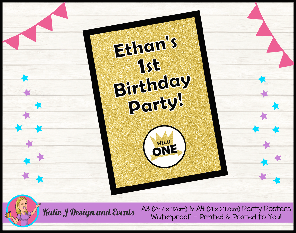 Personalised Gold Wild One Birthday Party Poster
