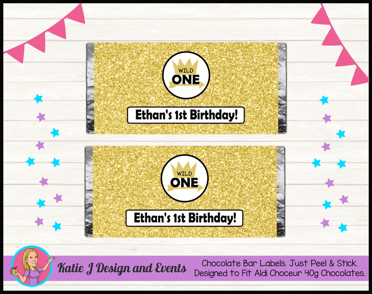 Personalised Gold Wild One Birthday Chocolate Labels Wrappers