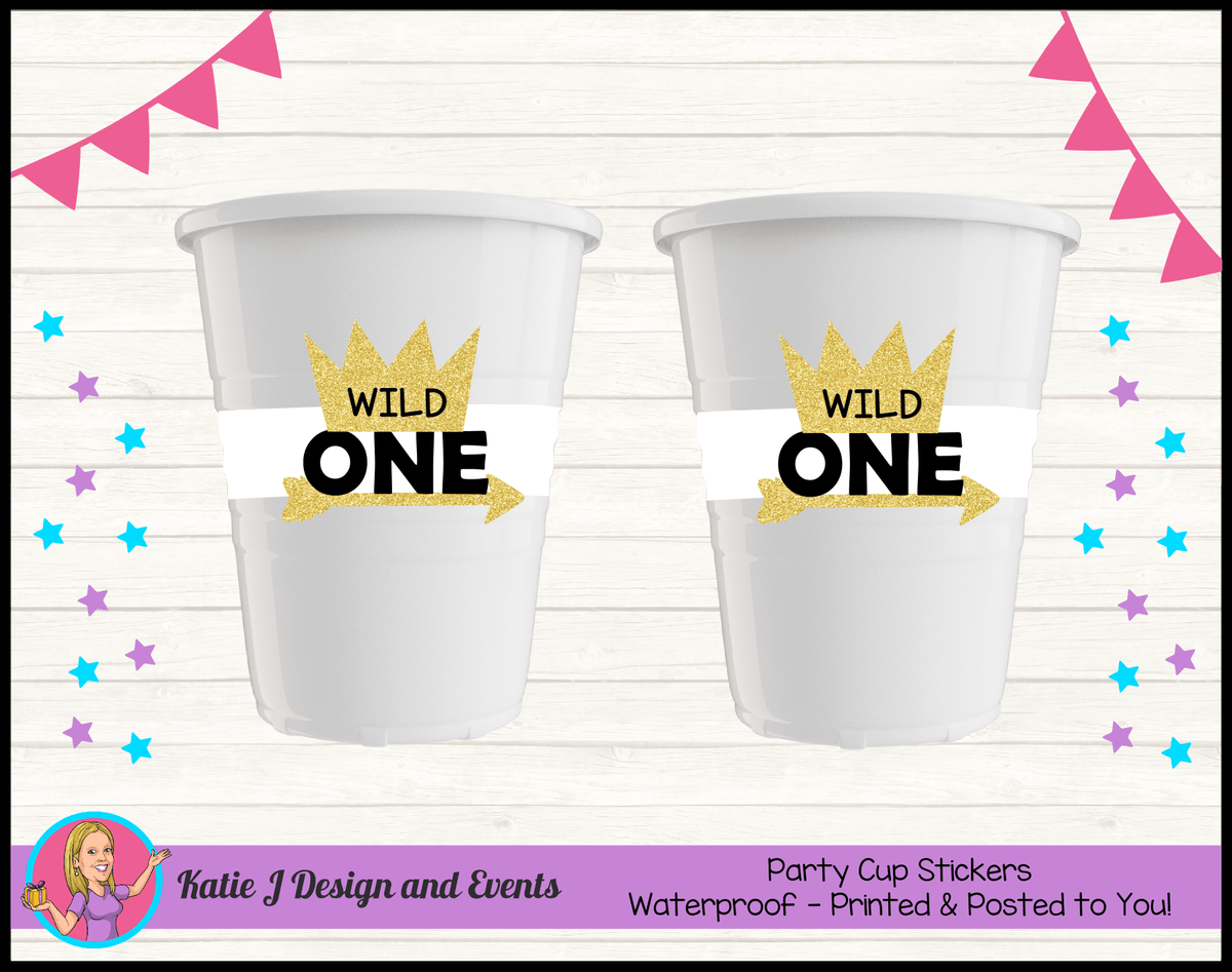 Personalised Gold Wild One Party Cups Cup Stickers