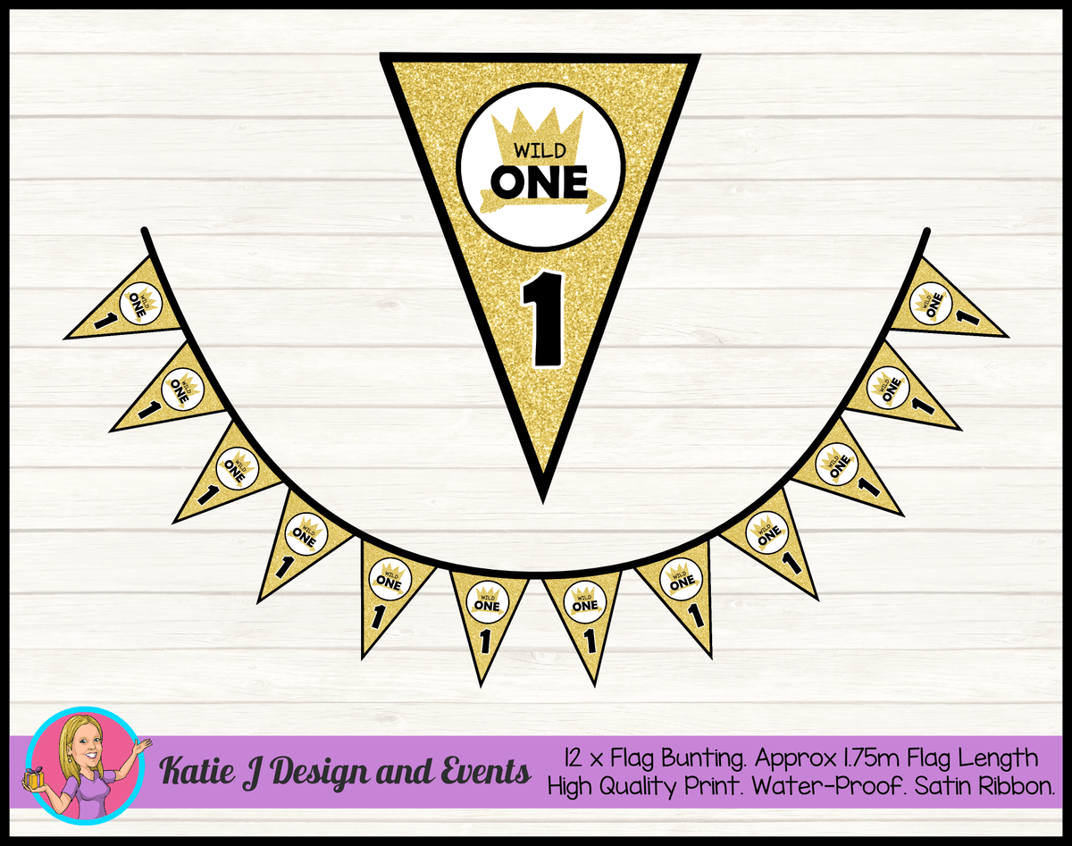 Personalised Gold Wild One Birthday Party Flag Bunting