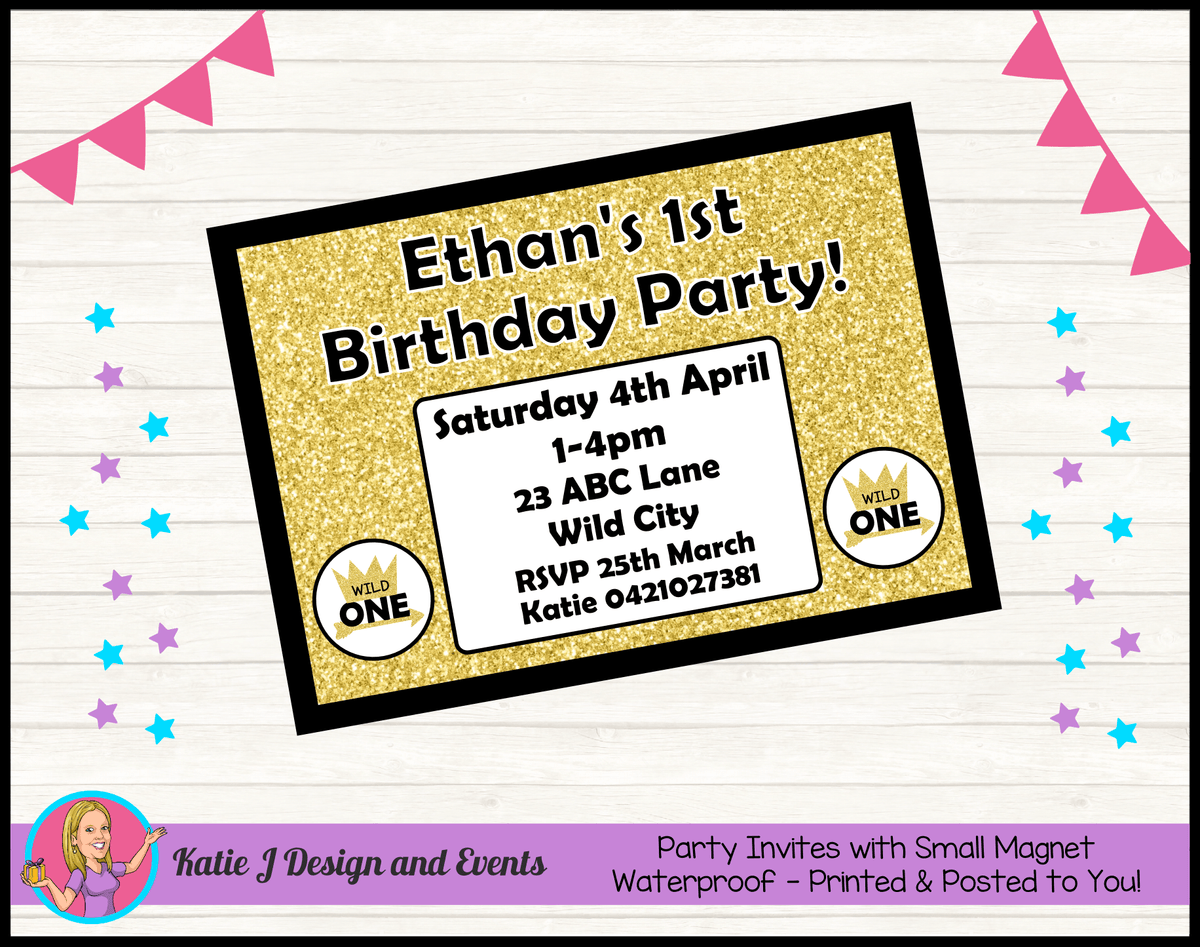 Personalised Gold Wild One Birthday Party Invites