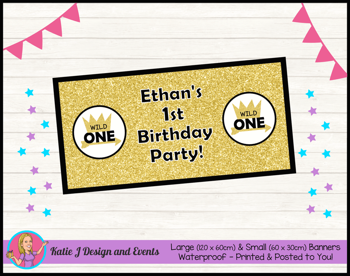 Personalised Gold Wild One Birthday Party Banner