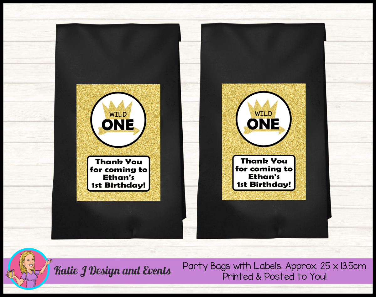 Personalised Gold Wild One Birthday Party Loot Bags