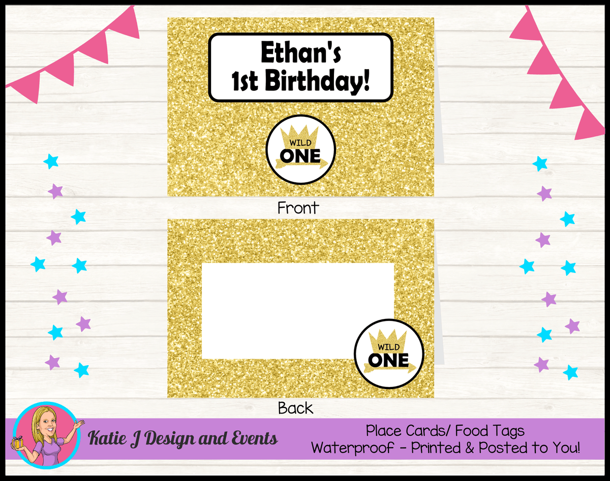 Personalised Gold Wild One Party Place Cards