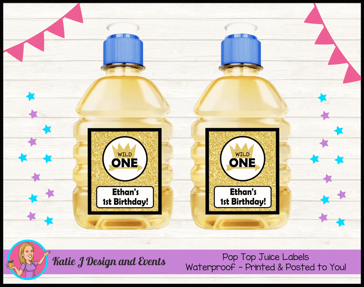 Personalised Gold Wild One Pop Top Juice Labels