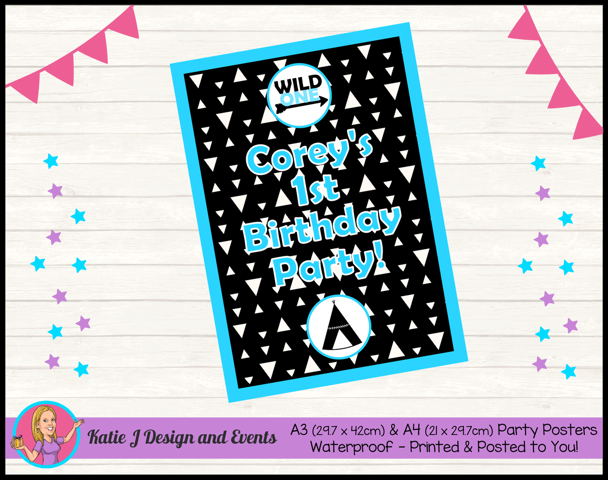 Personalised Monochrome Wild One Birthday Party Poster