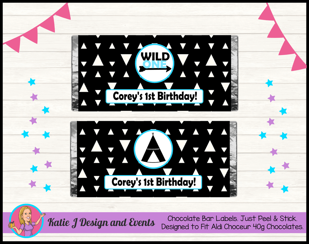 Personalised Monochrome Wild One Birthday Chocolate Labels Wrappers