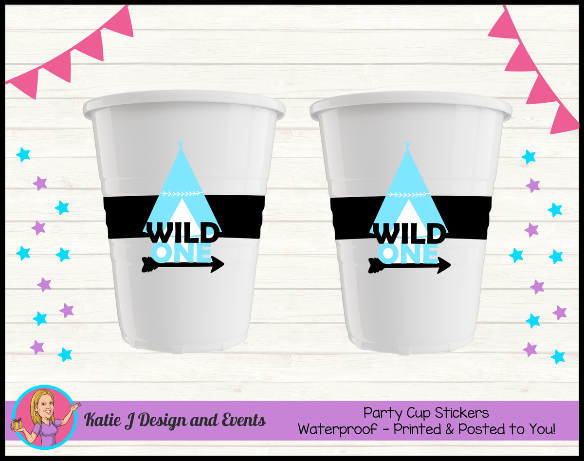Personalised Monochrome Wild One Party Cups Cup Stickers