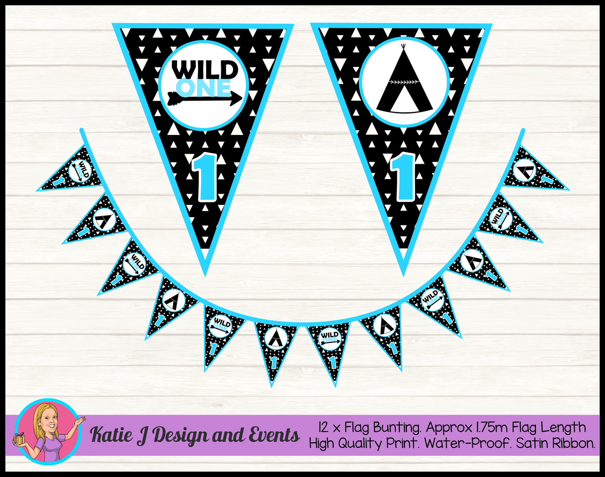 Personalised Monochrome Wild One Birthday Party Flag Bunting