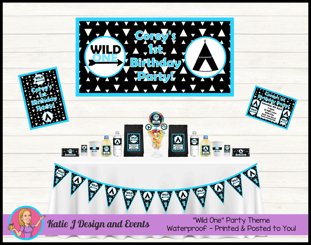 Personalised Blue Monochrome Wild One Party Packs Decorations Supplies