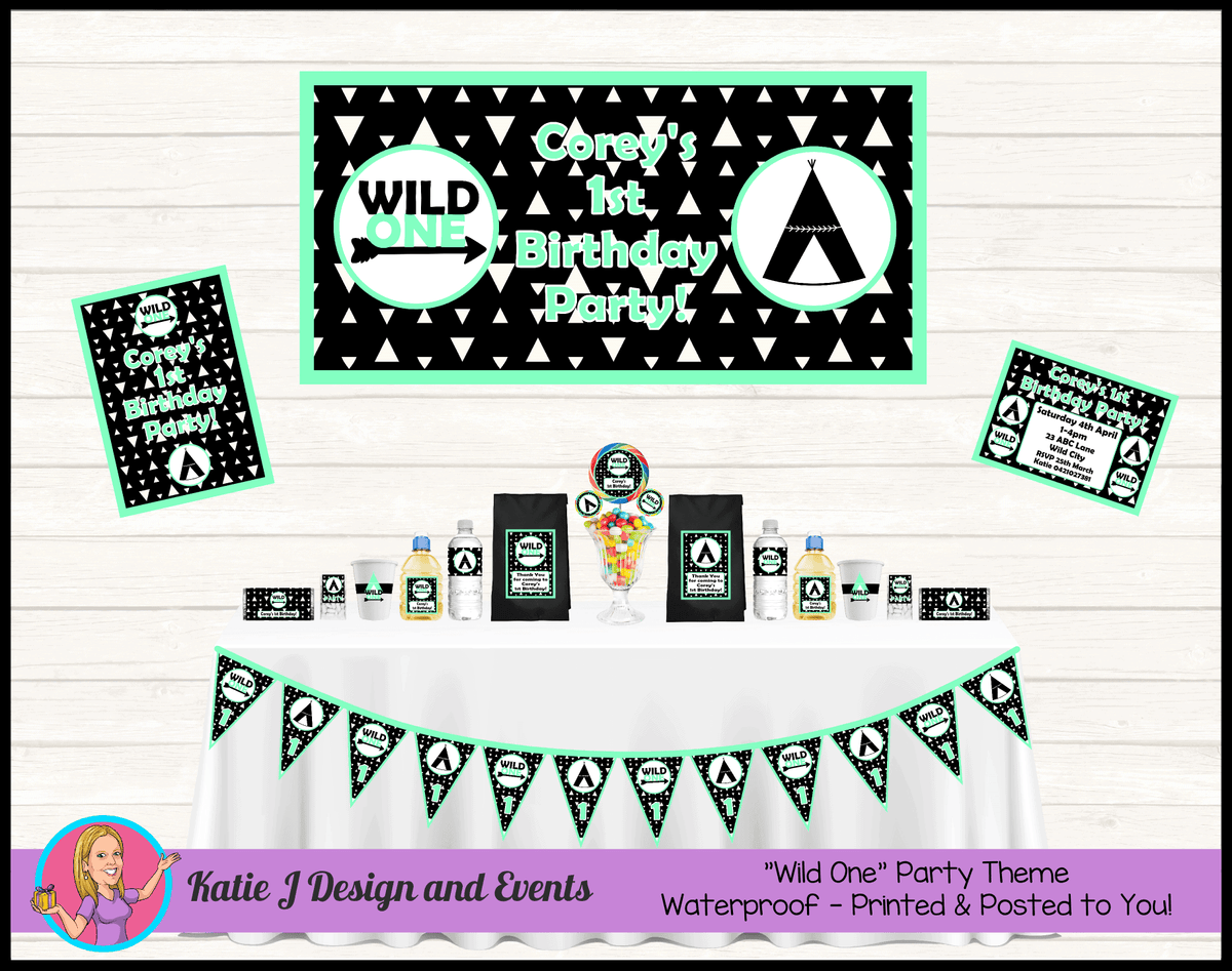 Personalised Mint Green Monochrome Wild One Party Packs Decorations Supplies