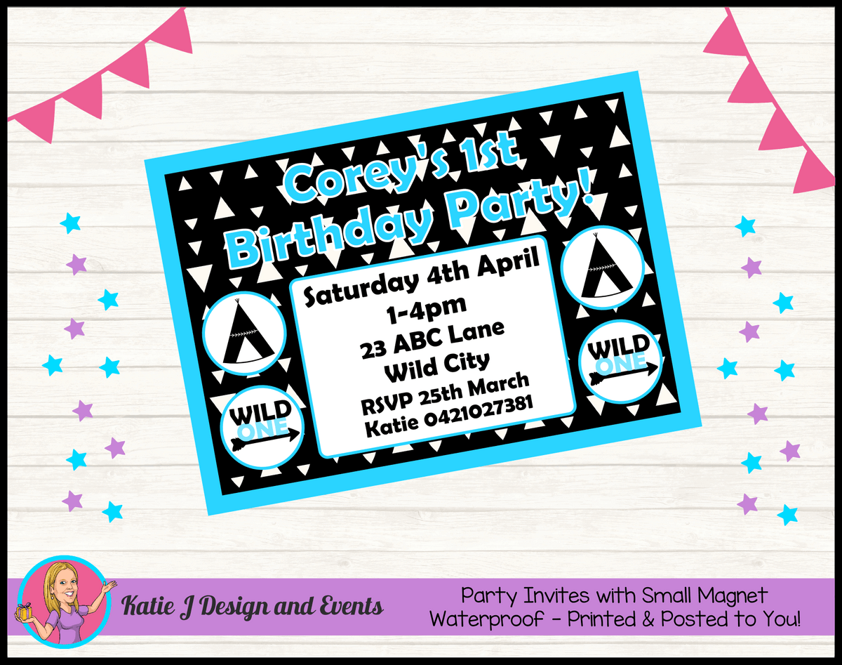 Personalised Monochrome Wild One Birthday Party Invites