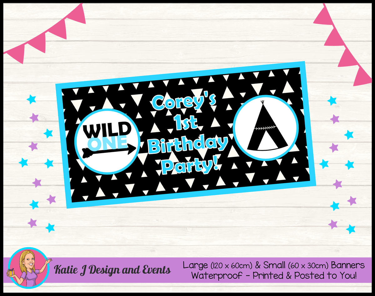 Personalised Monochrome Wild One Birthday Party Banner