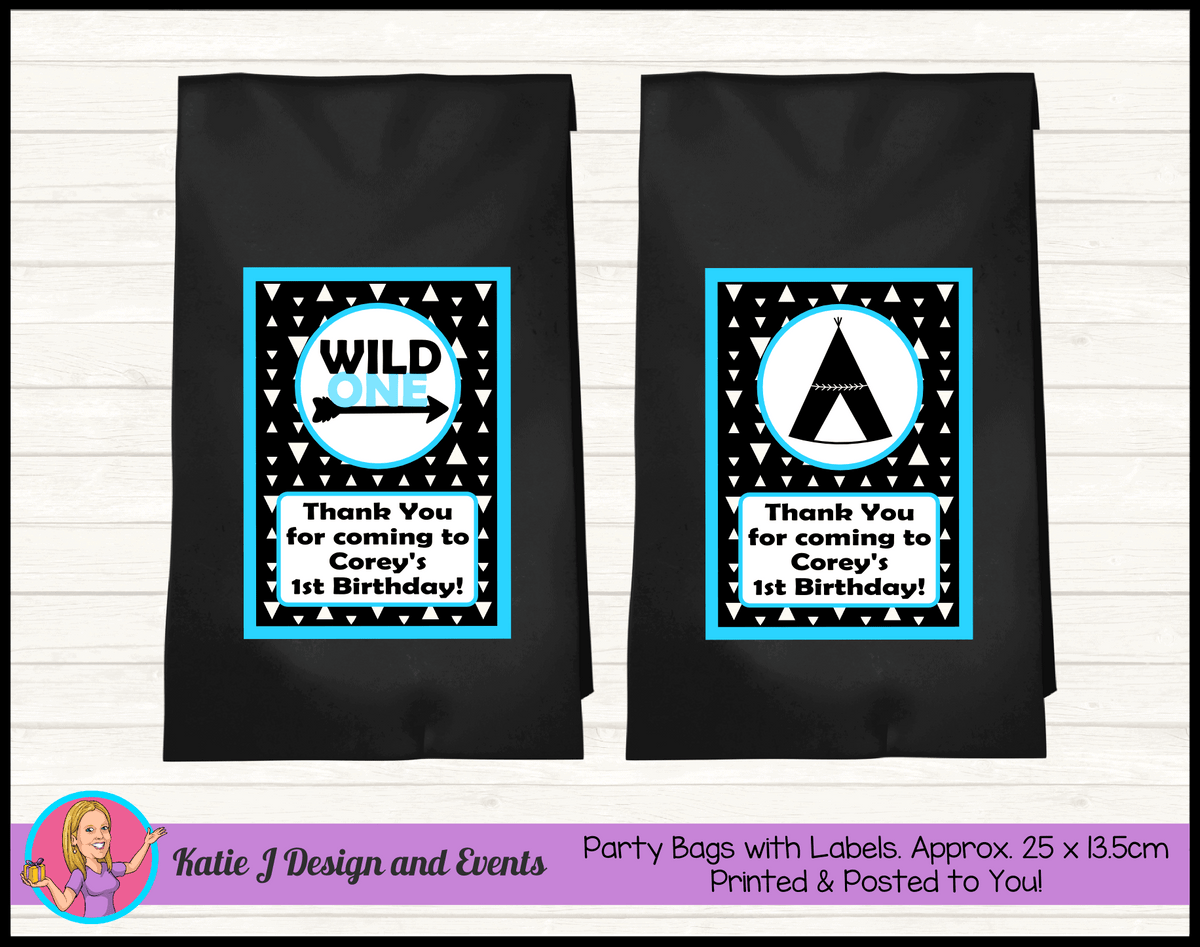 Personalised Monochrome Wild One Birthday Party Loot Bags