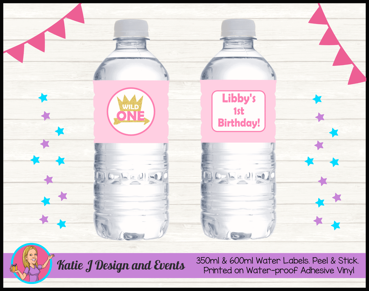 Personalised Girls Wild One Birthday Water Labels