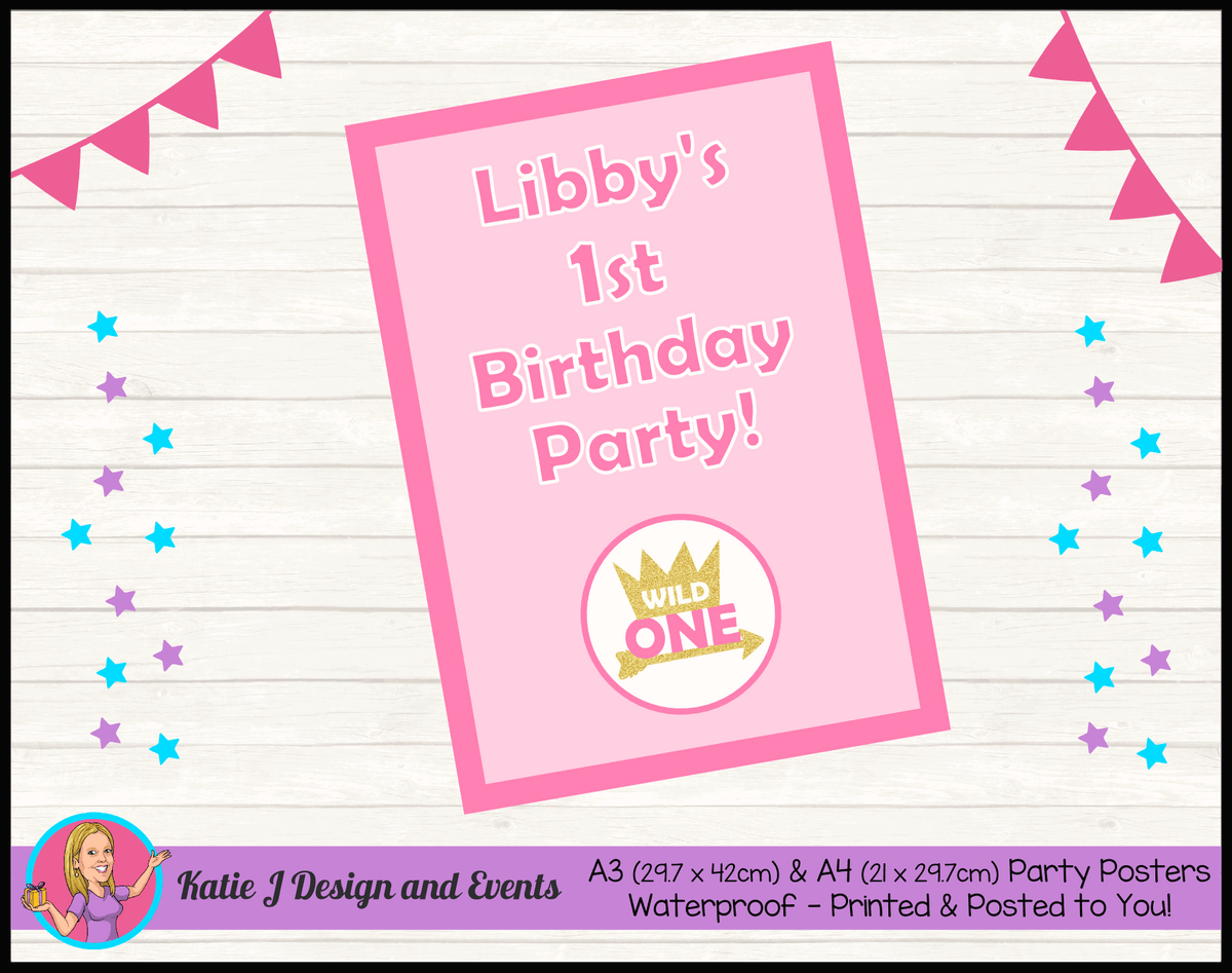 Personalised Girls Wild One Birthday Party Poster