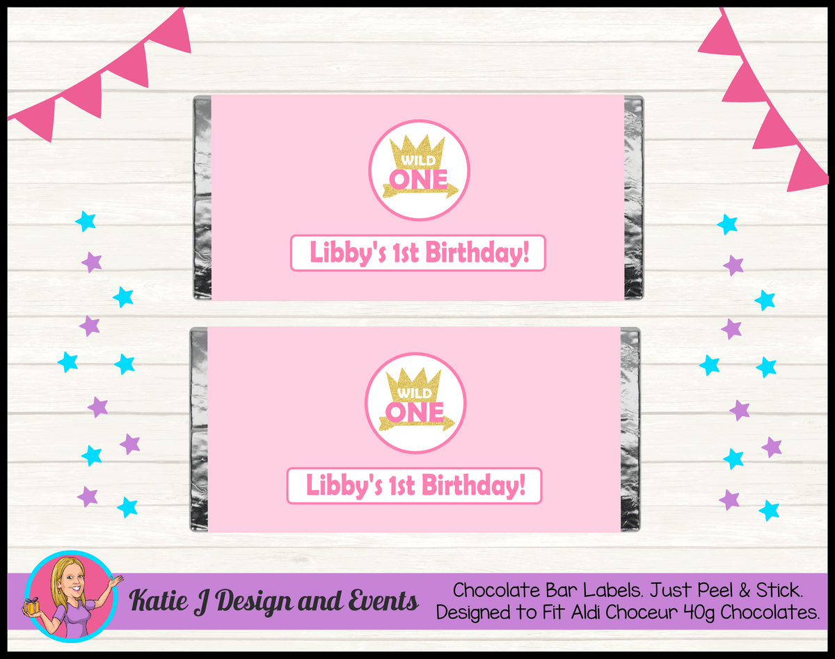 Personalised Girls Wild One Birthday Chocolate Labels Wrappers