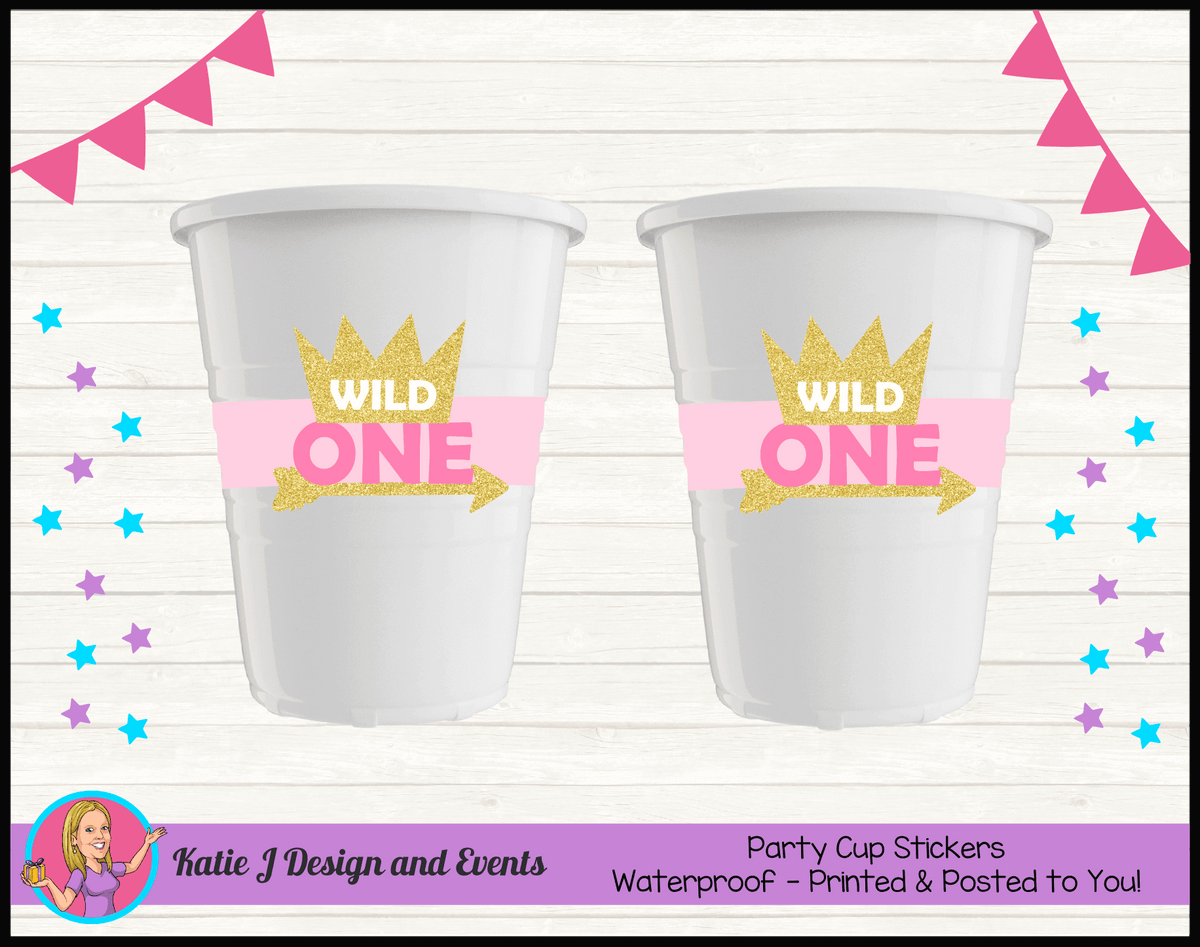 Personalised Girls Wild One Party Cups Cup Stickers