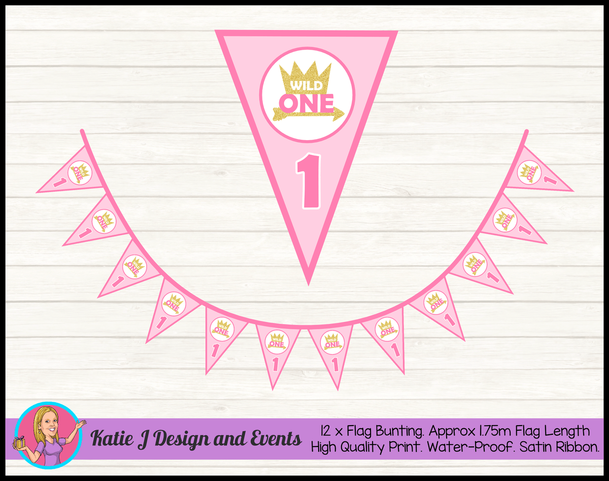 Personalised Girls Wild One Birthday Party Flag Bunting
