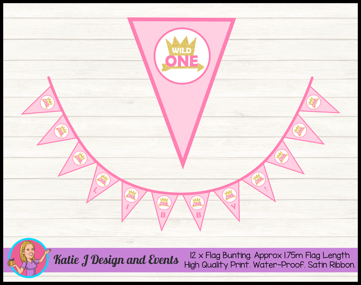Girls Pink & Gold Wild One Birthday Party Decorations