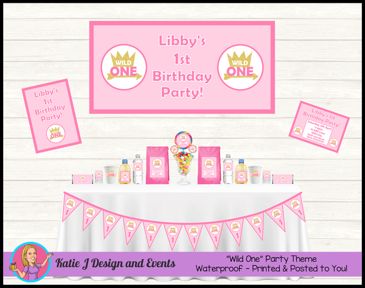 Personalised Girls Wild One Party Packs Decorations Supplies