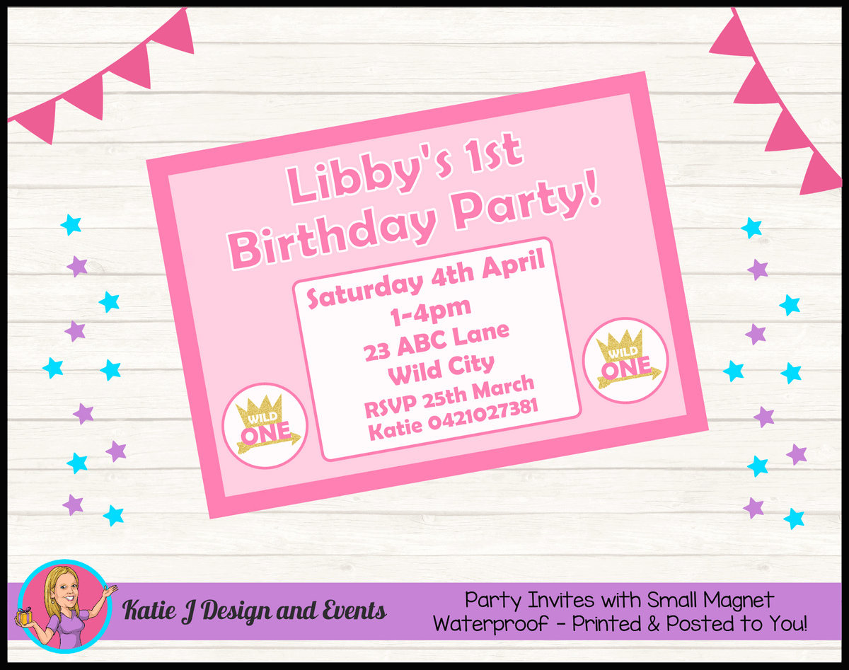 Personalised Girls Wild One Birthday Party Invites